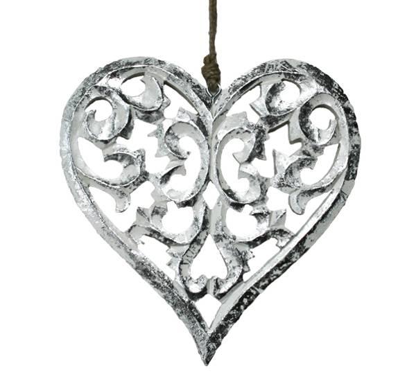 Bilde av Sølvhjerte av tre, for oppheng