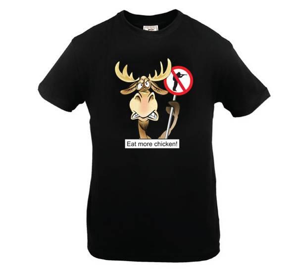 Bilde av T-skjorte. Eat more chicken!