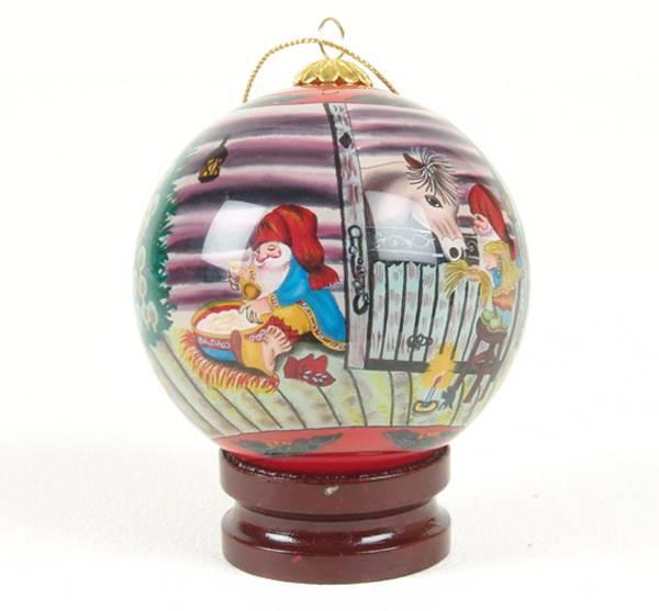 Bilde av Julekule håndmalt nisser på låven  Julestemning