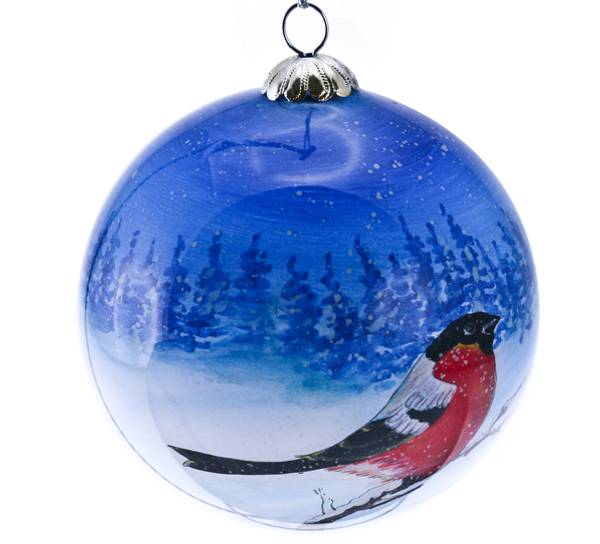 Bilde av Julekule,håndmalt, Dompap.