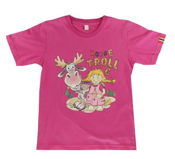 Bilde av Barne T-skjorte trolljente med elg, rosa
