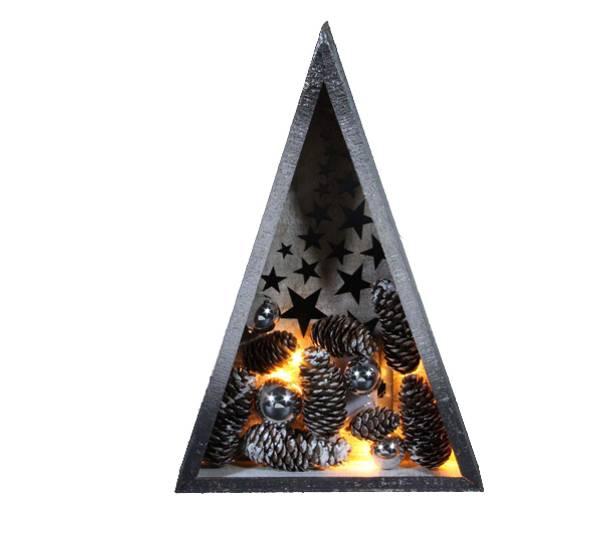 Bilde av Tre med kuler og kongler, sølv, Ledlys