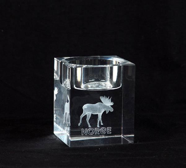 Bilde av Glassblokk for telys med elg, enkel