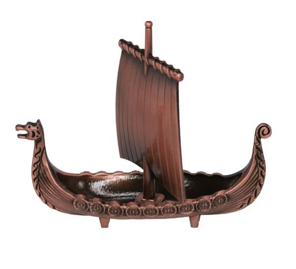 Bilde av Vikingskip med seil, kobberfarget