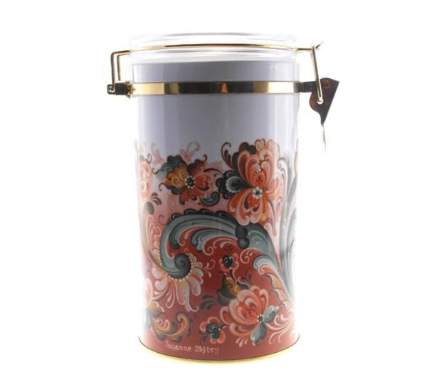 Bilde av Kaffeboks, rosemaling, rød