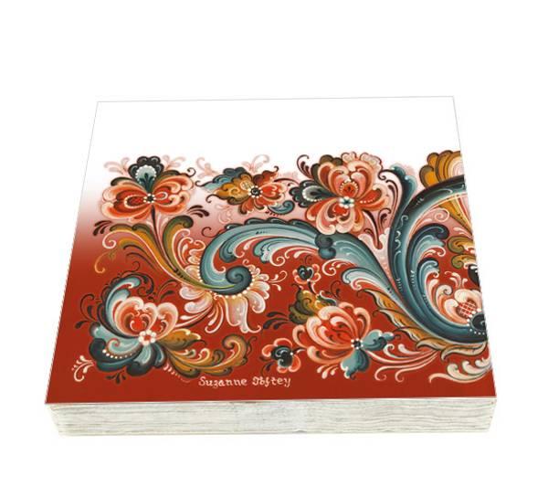 Bilde av Servietter rosemaling rødt