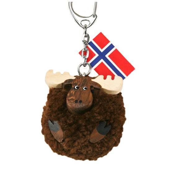 Bilde av Nøkkelring med brun pompom elg