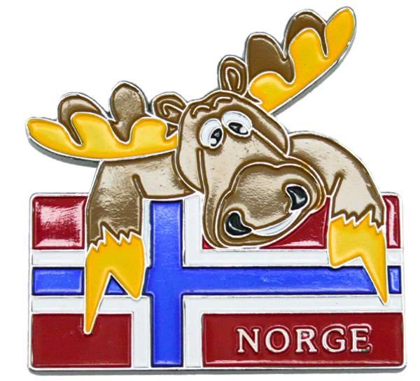 Bilde av Magnet i metall, elg med flagg