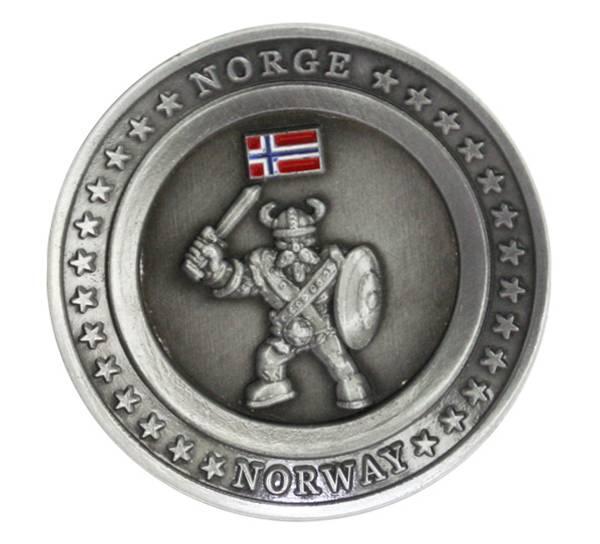 Bilde av Magnet, rund metallplate med viking