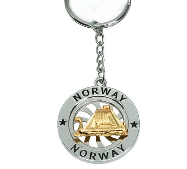 Bilde av Nøkkelring, m.spinner, gull/ sølv, Vikingskip