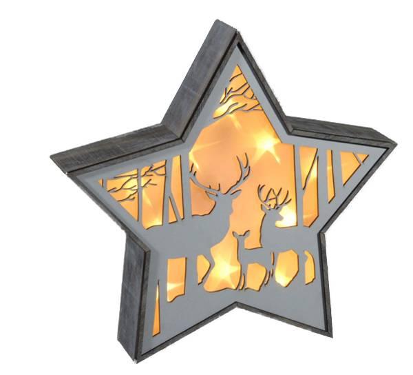 Bilde av Stjerne, hjort i stjernedryss, stor, Ledlys