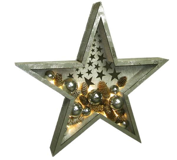 Bilde av Stjerne med kuler og kongler, gull, STOR Ledlys