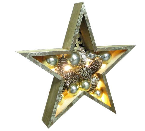 Bilde av Stjerne med kuler og kongler, gull, liten, Ledlys